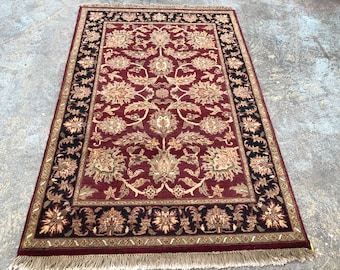 "Persian Rug Hand-Knotted Overall (Afshan) Design, Indian Agra Rug, (Red, Black, Gold) 183cm x 123cm (6'0"" x 4'0"")"