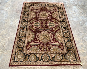 "Persian Rug Hand-Knotted Overall (Afshan) Design, Indian Jaipur Rug, (Red, Black, Green) 190cm x 125cm (6'2"" x 4'1"")"