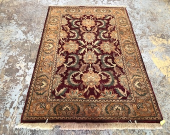 "Persian Rug Hand-Knotted Overall (Afshan) Design, Indian Agra Rug, (Red, Gold, Green) 184cm x 125cm (6'0"" x 4'1"")"