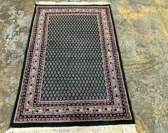 "Persian Rug Mir Design Hand Knotted Indian Made  (Green, Pink, Cream) 170cm x 110cm (5'5"" x 3'6"")"