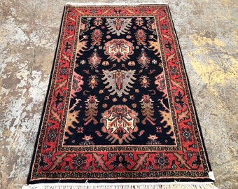 "Persian Rug Hand-Knotted Overall (Afshan) Design, Indian Amirstar Rug, (Navy, Orange, Green) 193cm x 123cm (6'3"" x 4'0"")"