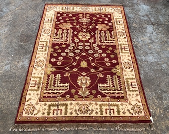 "Persian Rug Hand-Knotted Overall Design, Indian Wool Rug, (Red, Gold,Green) 180cm x 120cm (6'"" x 4'0"")"