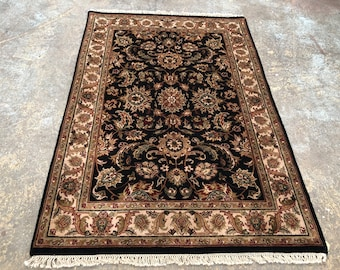 "Persian Rug Hand-Knotted Overall (Afshan) Design, Indian Amer Rug, (Black, Ivory Green) 188cm x 128cm (6'1"" x 4'2"")"