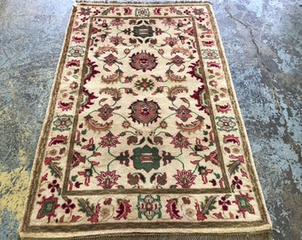 "Persian Rug Design Indian Made, Hand-Knotted Overall Floral Design (Gold, Pink, Green) 185cm x 122cm (6'"" x 4'0"")"