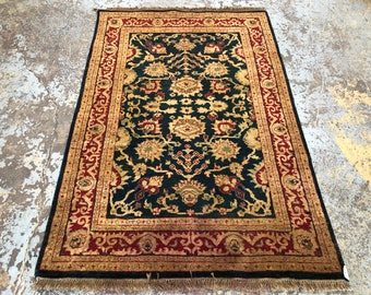 "Persian Rug Hand-Knotted Overall (Afshan) Design, Indian Bodhi Rug, (Navy, Red, Gold) 180cm x 123cm (5'9"" x 4'0"")"