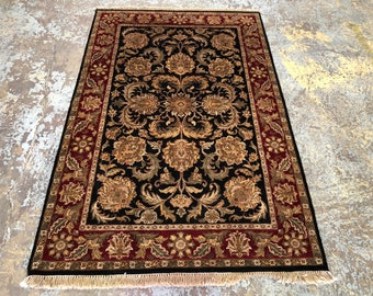 "Persian Rug Hand-Knotted Overall (Afshan) Design, Indian Agra Rug, (Black, Red, Green) 185cm x 122cm (6'0"" x 4'0"")"