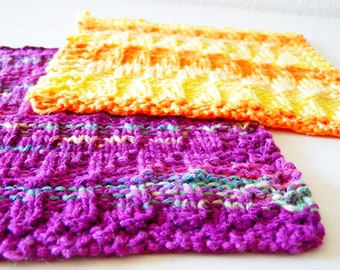 Cotton potholders in yellow and purple, set of two, hand knitted in a nice textured pattern - kitchen accessories in summer colors
