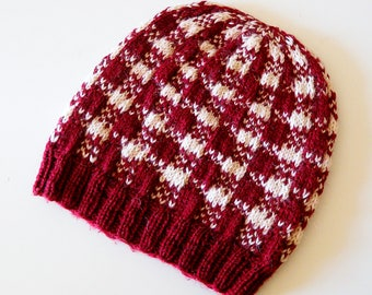 Plaid Hat Knitting Pattern, winter beanie in Gingham colorwork pattern using dk weight yarn in two colors, stranded knitting, unisex hat