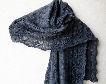 Elegant evening shawl for women, hand knitted in lightweight wool yarn - charcoal gray, nearly black - a touch of luxury