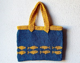 Handbag Knitting Pattern, fish bag, knit purse, two colors, cotton bag, easy colorwork, tote bag, goldfish purse, knit handbag, bag pattern