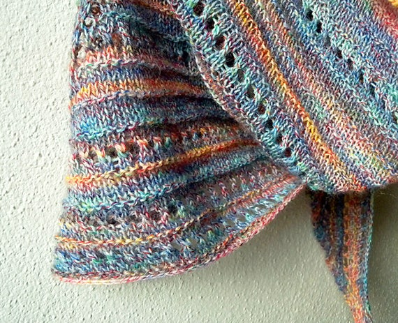 Triangle Shawl Knitting Pattern Using One Ball Of Fingering Etsy