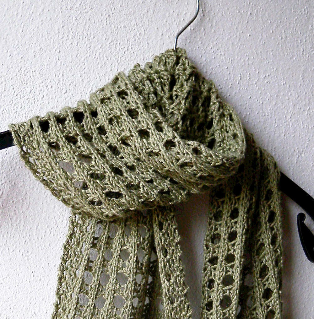 Summer Scarf Knitting Pattern, lace scarf, easy pattern, aran yarn ...