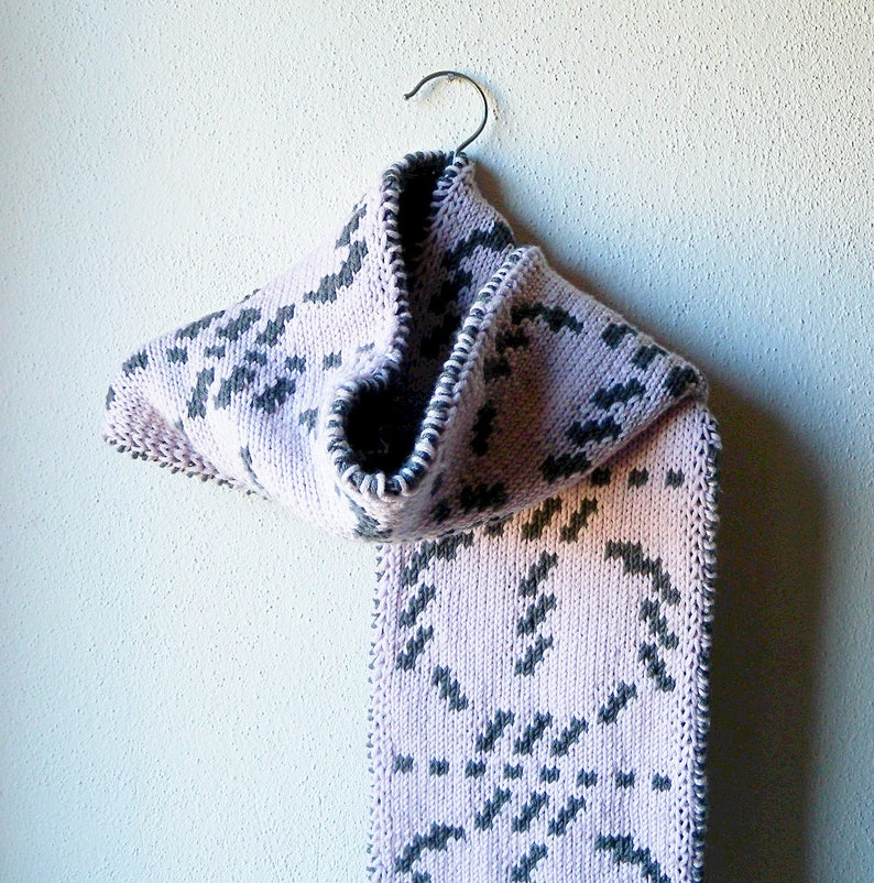Scarf Knitting Pattern Reversible Scarf Double Knit Etsy