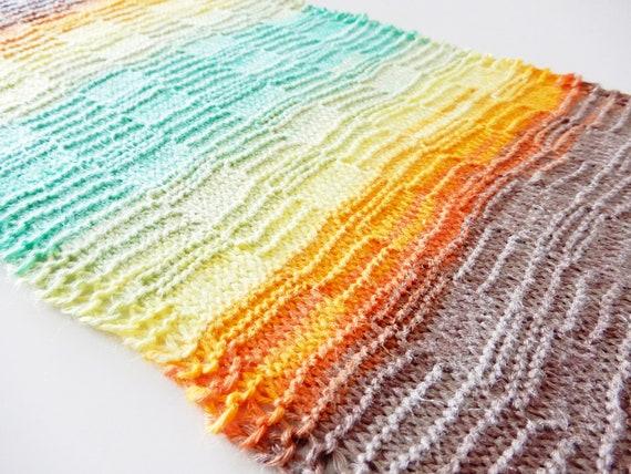 Scarf Knitting Pattern In Light Fingering Gradient Yarn Easy Etsy