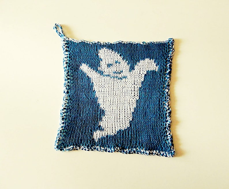 Double knitting pattern ghost potholder friendly ghost in ...