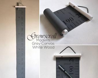 Growscroll ® Growth Chart Height Chart - Modern Wood & Canvas Growth Chart Height Chart - Customizable Kids Growth Chart Height Chart Custom