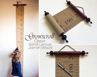 Growscroll ® Growth Chart / Height Chart - Classic Wood & Canvas Growth Chart / Height Chart - Customizable Kids Growth Chart / Height Chart