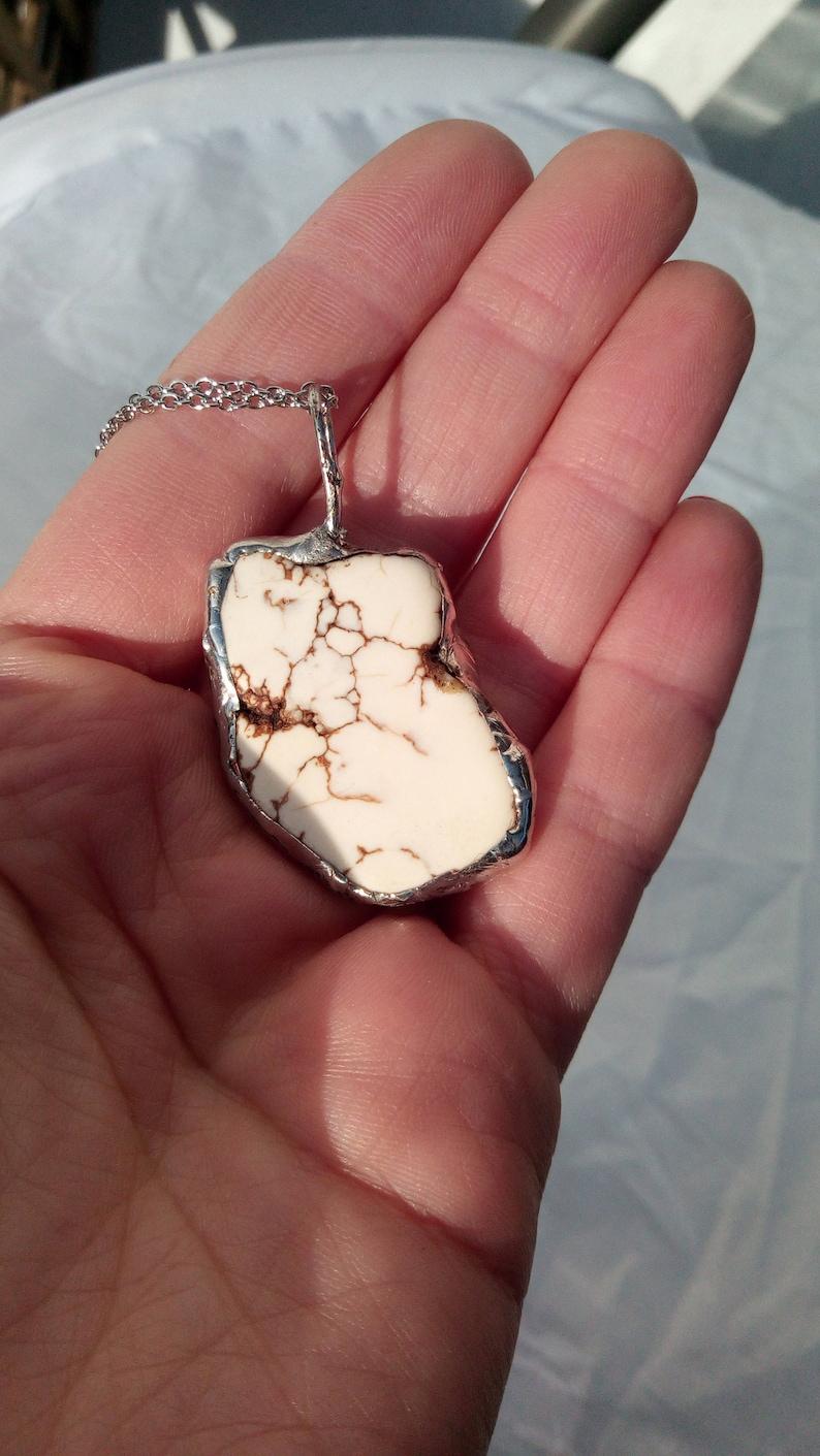 Raw Gemstone Necklace White Natural Stone Necklace Druzy Howlite Necklace