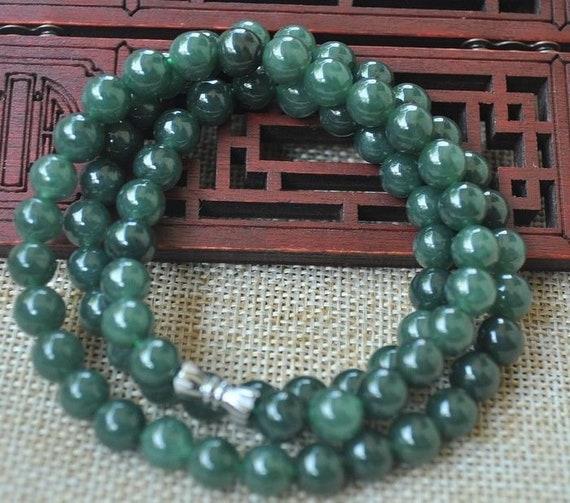 long natural /& handmade bead necklace 21in Burmese Jadeite A Jade 8 mm//0.31 in