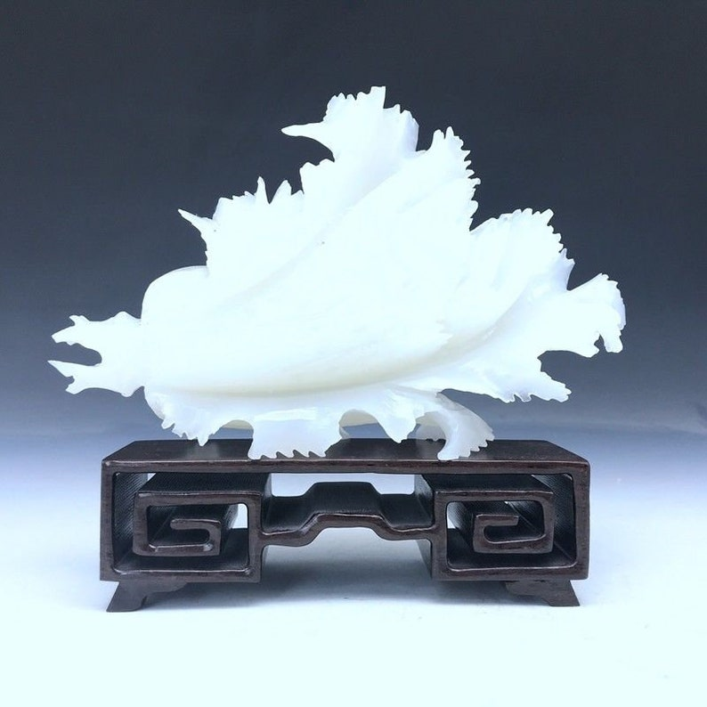 7.08/'/'L-Chinese Genuine Natural White Jade Handcarved Lucky Cabbage Statue
