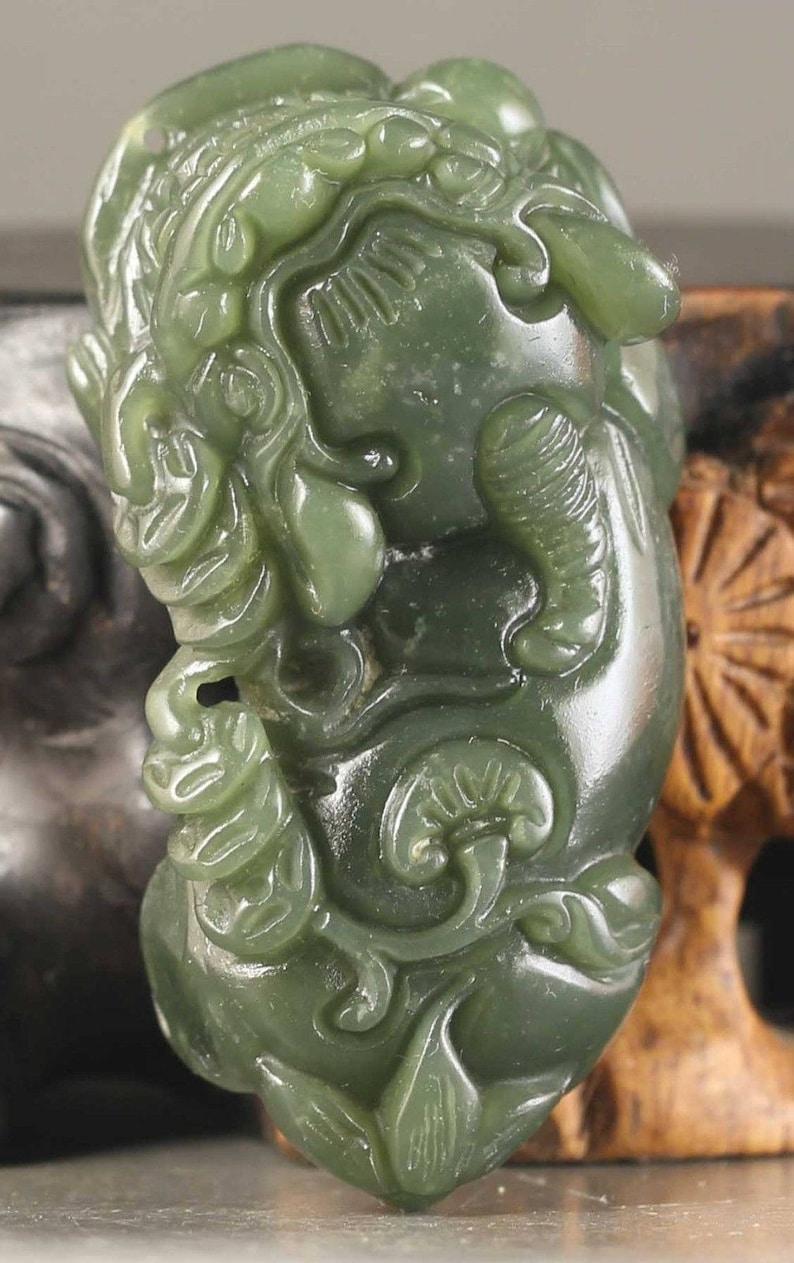 Certified Natural Jadeite Emerald A*Jade HandCarved Pixiu Pendant A1940 10/% OFF