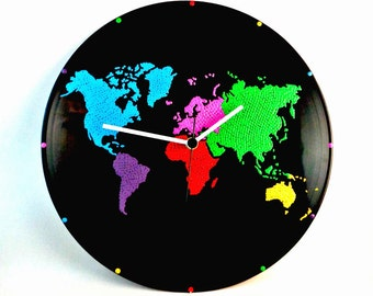 Etsy your place to buy and sell all things handmade world map wall clock world map clock vinyl clock globe map earth map multicolor wall art home decor minidotclocks gumiabroncs Gallery