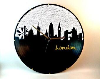 Wall clock, London, Vinyl clock, London skyline, London clock, Wall art, Home Decor, MiniDotClocks