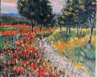 """Original Oil Painting on Wood Panel, Road Cross Popy Field- Landscape, 16x12"""", 180604"""