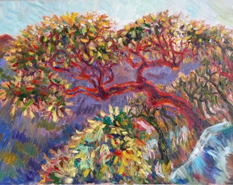 """Original Oil Painting, Arbutues Tree on Mountain, 16""""x20"""", 1806042"""