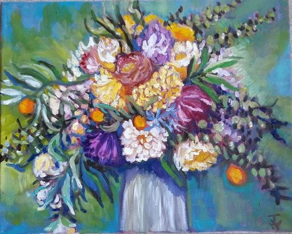 Original Oil Painting Flower In Vase Ii 16x20 1806301