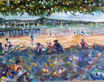 "Original Oil painting, Summer Beach Vancouver, 9""x12"", 1806043"