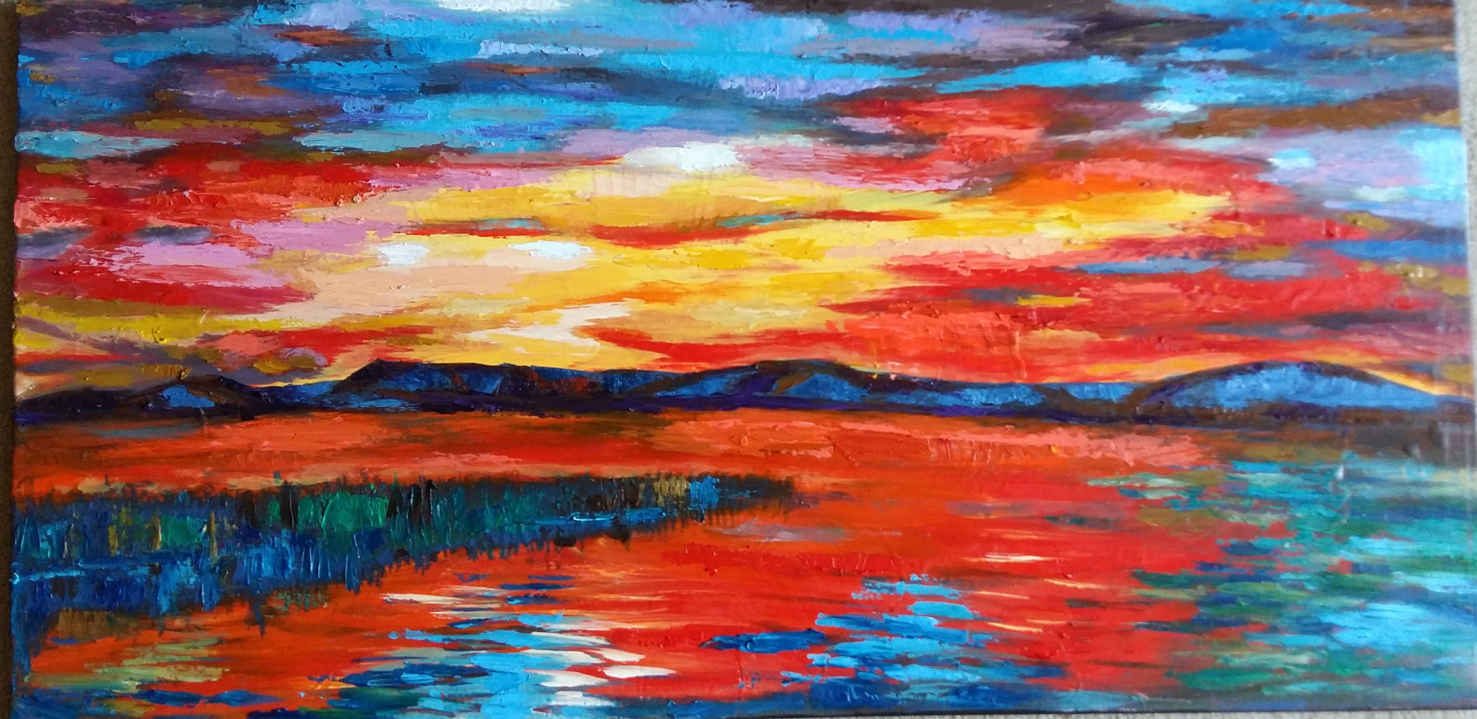 Original Oil And Acrylic Painting Sunset Over Sea