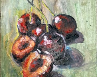 "original Oil painting, Cherry, 1804096, 10""x8"""