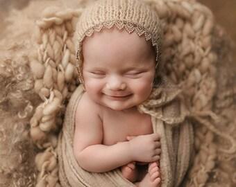SALE! Knit newborn hat, RTS, Newborn lace hat, Photography prop, Baby Prop, Lace, Bonnet
