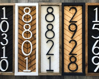 Chevron Vertical Address Sign + address plaque + house numbers + house numbers + herringbone Wood Address Home Sign + Wooden Number Sign