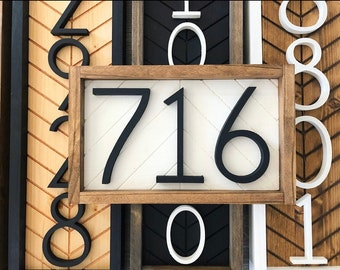 Horizontal Address Sign + address plaque + house numbers + house numbers + herringbone Wood Address Home Sign + Wooden Farmhouse Number Sign