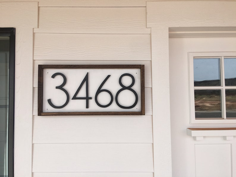 Wooden Farmhouse Number Sign Porch numbers Housewarming Horizontal Address Sign Home Decor Wood Address Home Sign Wall Art