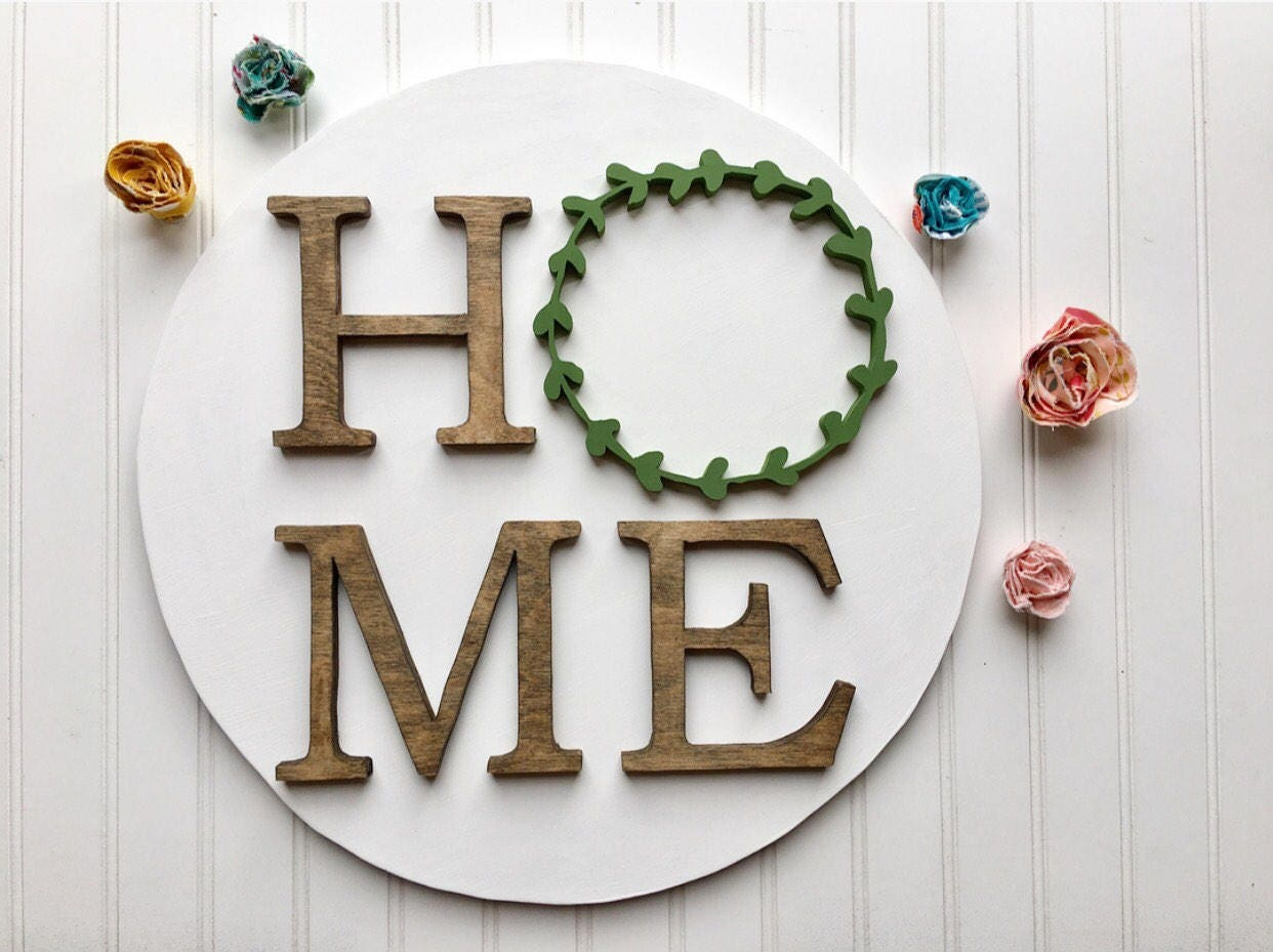 Wood Wreath Sign Farmhouse Rustic Modern Wall Decor Home