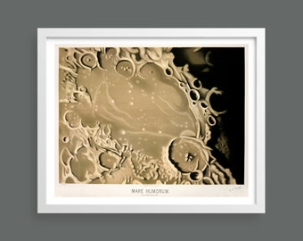 Lunar Crater by Etienne Leopold Trouvelot | Moon Mare Humorum | Astronomical Drawings 1882 | Astronomy space print | Science wall art