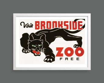 Visit the Zoo   WPA vintage travel poster   Nature retro poster   Vintage wall art   Room decor
