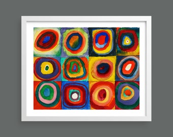 Squares with concentric rings by Kandinsky   Abstract modern art   Fine art reproduction print   Bauhaus