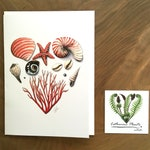 Heart of coral Greeting Card. 7 x 5. High Resolution Print. Reproduction of Original Nature Illustration. Ocean, Sea, Shell, Star, Pearl