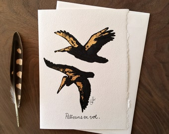 Pelican in flight, 6 7/8 x 5 inches, Greeting card / handmade illustration with color marker and ink with gold leaves