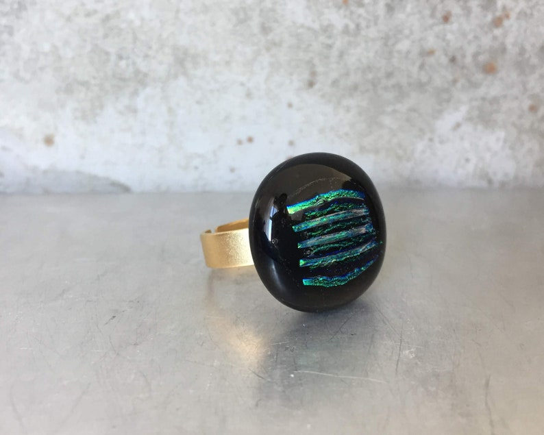 Statement Ring Boho Glass Ring Unique Glass Ring Glass Rings for Women Boho Ring Colorful Ring Boho Glass Jewelry Black Gold Ring