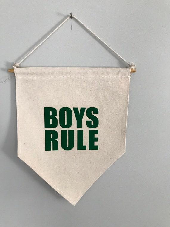 Boys rule canvas banner