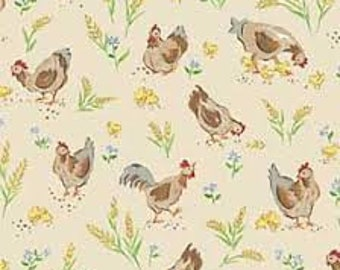 Red Rooster Fat Quarter Forever By The Seaside Beige Cotton Quilting Fabric