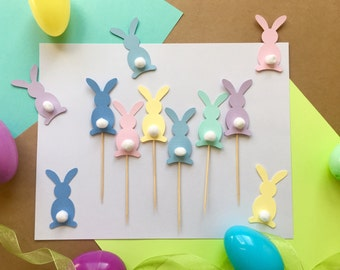 Bunny Cupcake Topper | Glitter Rabbit Topper | Easter Party Decorations | Holiday Decor | Easter Bunny Cupcake Toppers | Happy Easter Decor