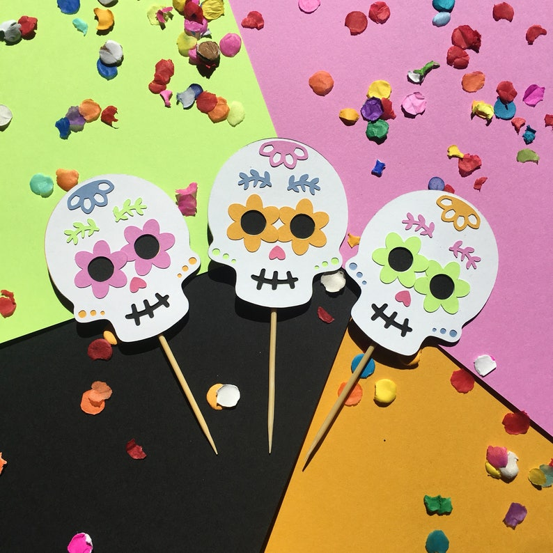 Sugar Skull Cupcake Toppers Fiesta Decorations Halloween Etsy