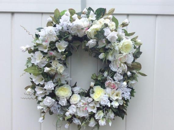 Flower Wreath All White Flowers Floral Wreath Romantic Etsy