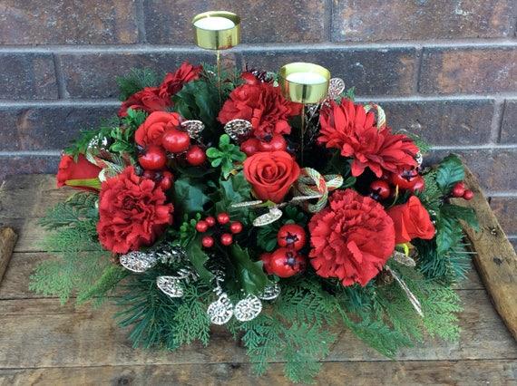 Christmas Flower Arrangements Artificial.Christmas Flower Arrangement Table Centerpiece Artificial Floral For Christmas Holiday Arrangement Christmas Centerpiece Made In Canada